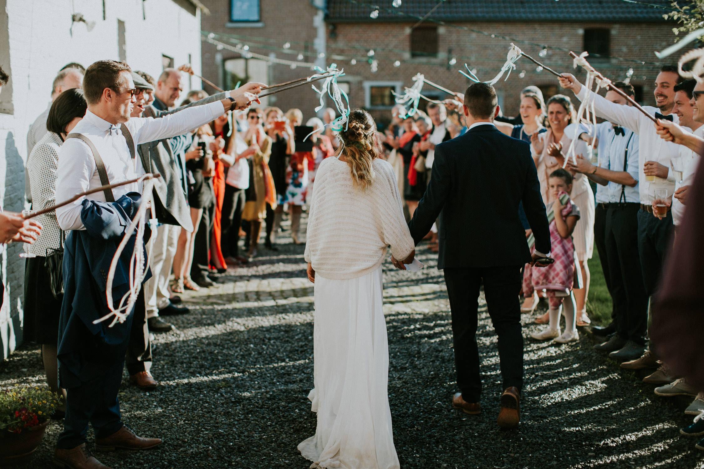 Bruidspaar bohemian huwelijk