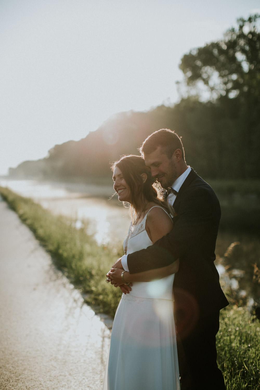 Huwelijksfoto's bij mist