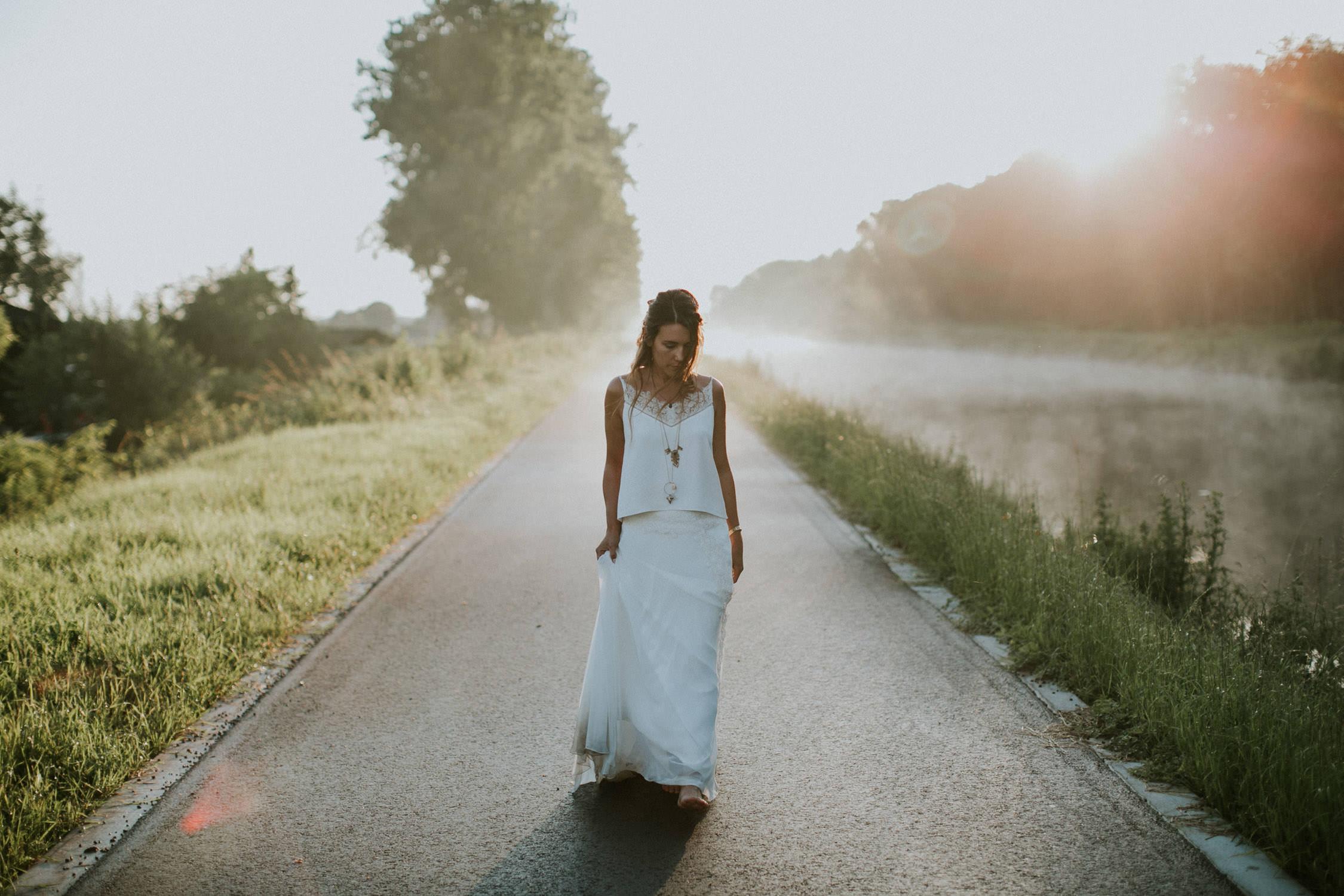Huwelijksreportage bij mist