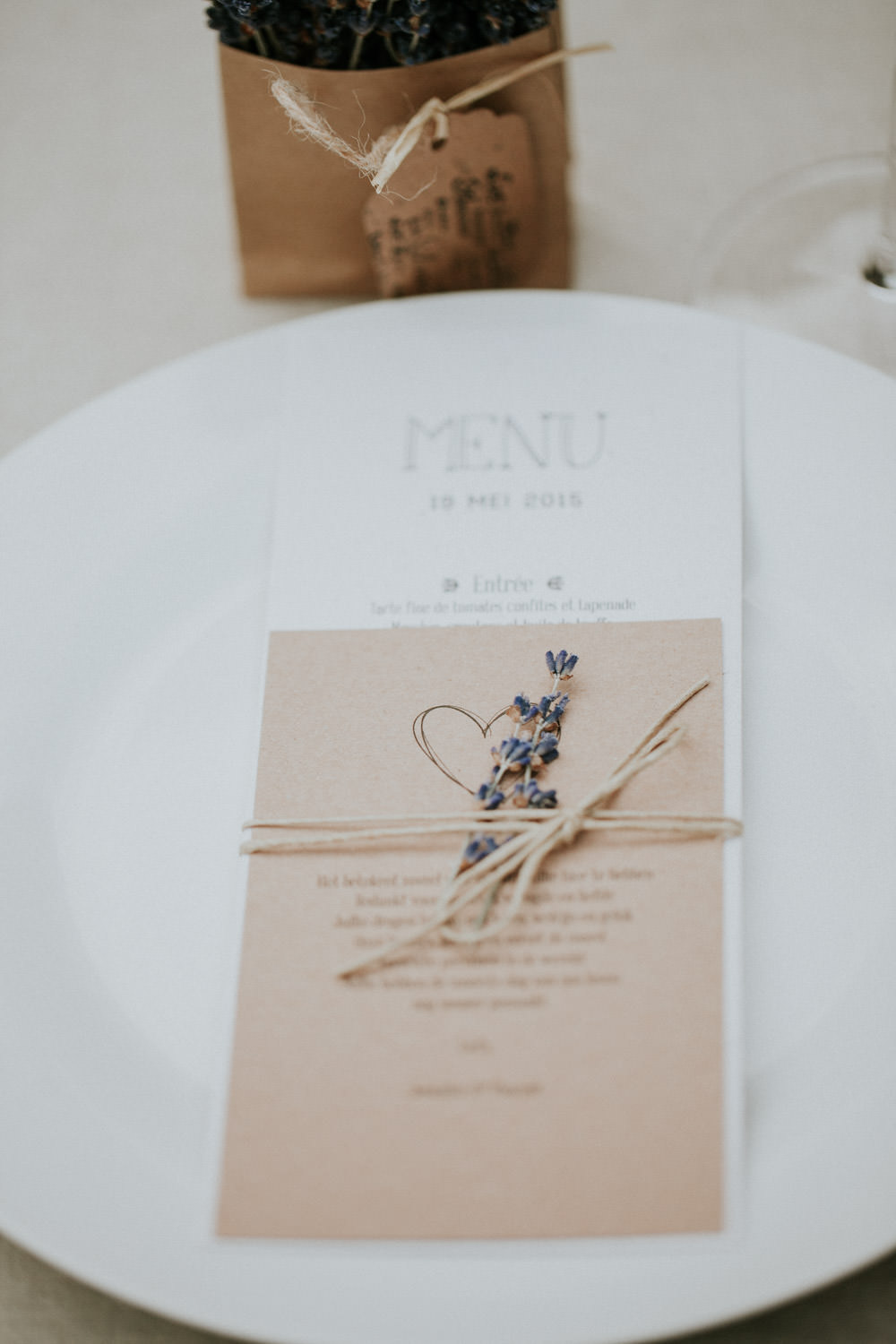 Lavender wedding menu Provence